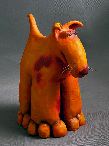 Orange ceramic dog figure - Roelna Louw
