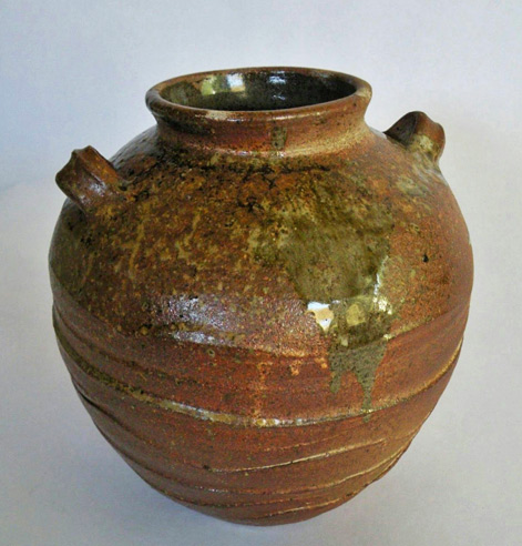 Eleanor Fernandez-'Vase'-2014 - rusty brown and green glaze