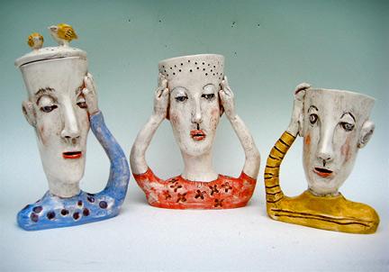 Three ceramic busts - Laura Balombini