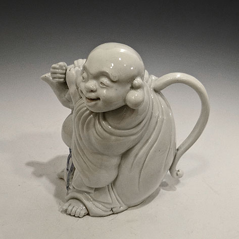 Antique-Japanese-Porcelain-Hirado-Hotei-Teapot-Blue-and-White-Circa-19th-Century