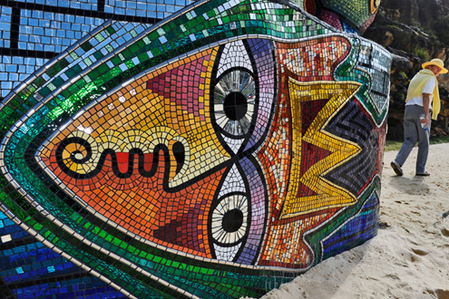 Australian-artist-Deborah-Halpern's-ceramic-and-glass-mosaic-'Ship-of-Fools'--Torsten-Blackwood-AFp-Getty-Images