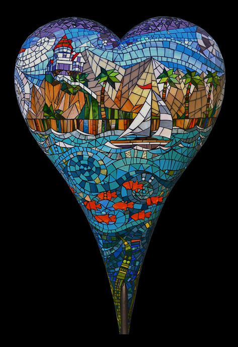 Catalina-by-Carol-Towler - heart mosaic with sailing yacht on ocean
