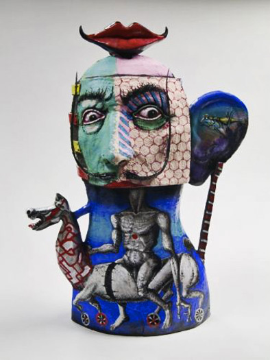 Dali-teapot by Noi Volkov abstract decoration with Dali face