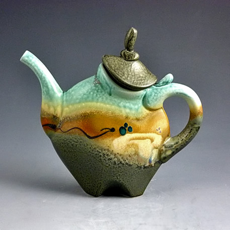 Loren-Lukens ceramic teapot with abstract glaze and form in olive, mustard and green