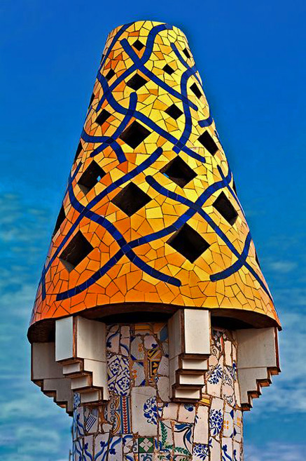 Palau-Güell-Chimney,-Barcelona in yellow. blue and black
