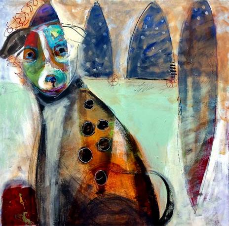 Saatchi-Art-Artist--L-Balombini--Acrylic-2014-Painting--Pueblo-Begger-Dog-