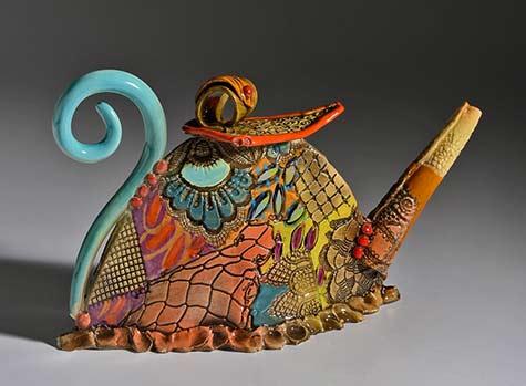 Gail-Mackiewic teapot with many geometric patterns