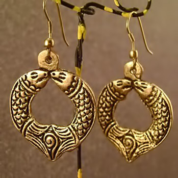 dhokra-jewelry twin fish Pices earrings