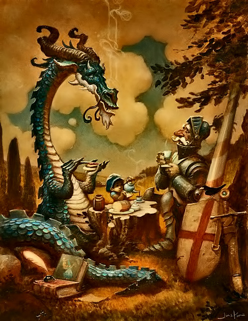 The-reluctant-dragon-painting by Justin-Gerard