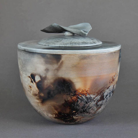 Chris-Gullon raku fired lidded jar
