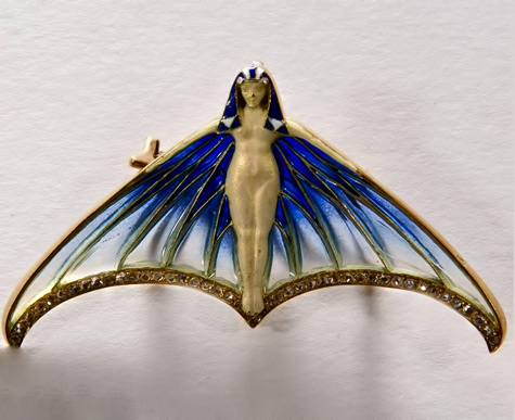 An-Art-Nouveau-gold,-diamond-and-enamel-brooch,-by-Eugène-Feuillâtre,-French,-circa-1900 Egyptian Revival