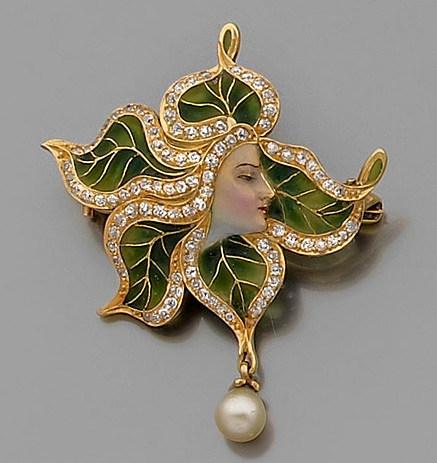 Art Nouveau pearl diamond, enamel-and-18K-gold brooch-pendant