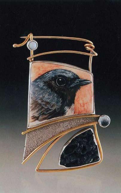 black-throated-clue-warbler-pin-acrylic-on-deer-antler-sterling-silver-14k-gold-druzy-psilomelane-blue-topaz-opal-ali-wieboldt