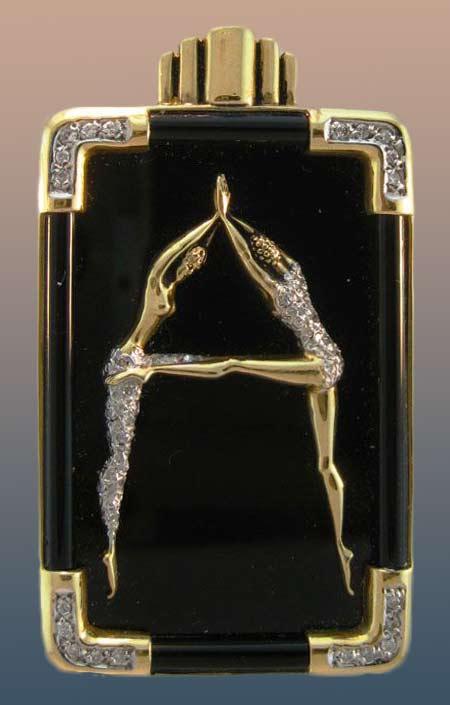 erte-gold-and-black-enamel-diamond pin
