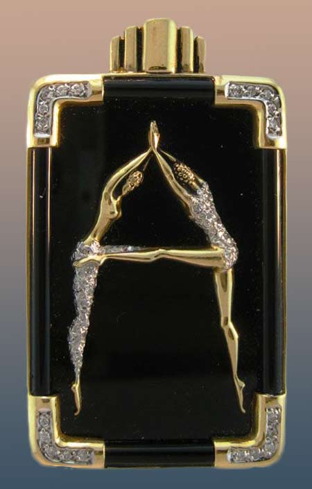 erte-gold-and-black-enamel-diamond pin