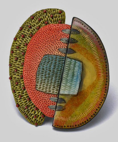 Kathleen-Dustin--Tribal-Pin-in-Green contemporary polymr clay brooch