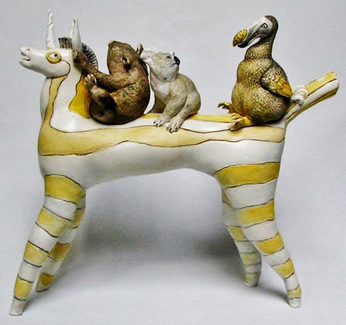 Myths, Memories, Moments in Time by Sally Hook - Unicorn carrying a wombat, koala and dodo sculpture