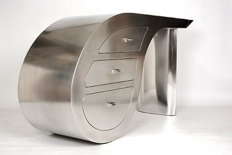 Michel-Bliard- Polished-Satin-Aluminum-desk http://bliard-creations.com