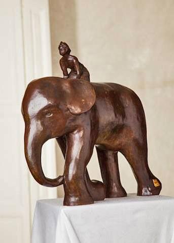 Dorothée Butruille - sculpture of a boy riding an elephant