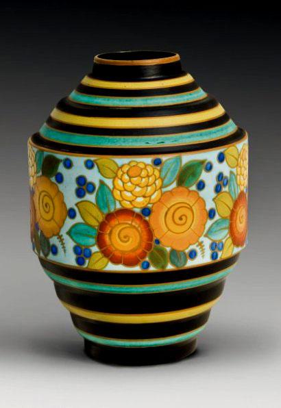 CATTEAU-Charles-(1880-1966),-Kéramis-vase-earthenware-and-enamel