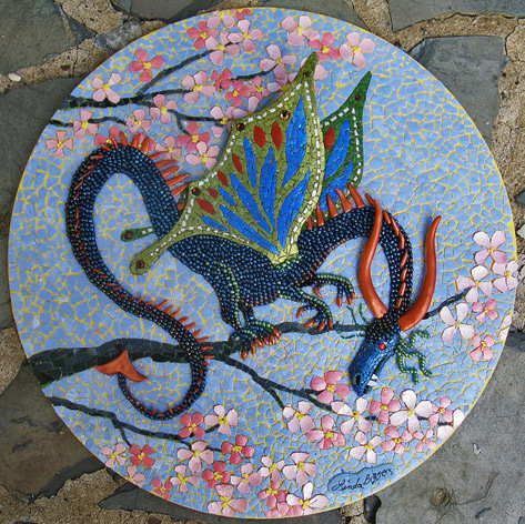 "Cherry-Blossom-Dragon-eggshelllady - Linda Biggers Mixed media mosaic, eggshell, seed beads and polymer clay.10"" daimeter"