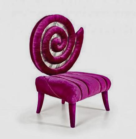 Pink velvet Kundalini-spiral-chair-sicis