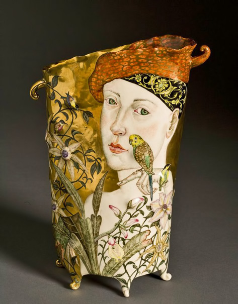 Last-Day-of-Summer-(front)-by-Irina-Zaytceva - footed vase with female motif and botanical decoration