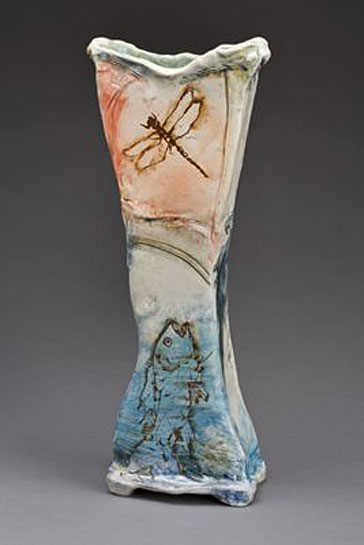 Laurie-Shaman dragonfly and fish vase