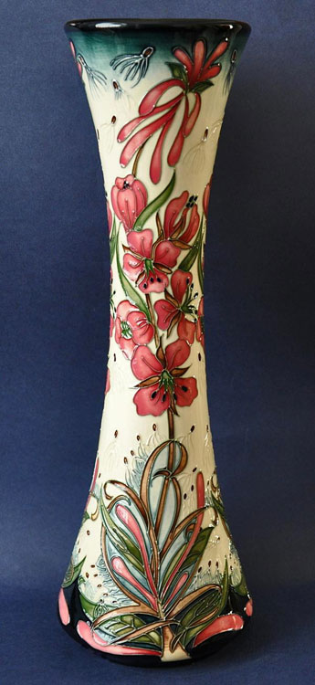 English Moorcroft-Pottery-Willowherb vase - pink flower motif