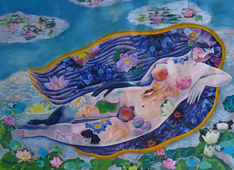 Nguyen Tuan Khanh- Eva eternal spring Painting of a nude female on a lotus lake
