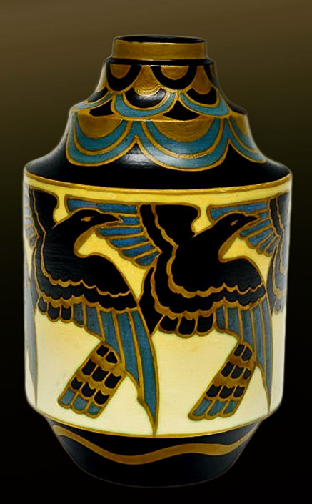 Rare-geometric-shape-vase-with-polychrome-decoration--Very-unusual-geometric-form.-Polychrome-repetitive-design-with-stylized-birds,-magpies