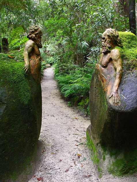 Entrance to William Ricketts Garden Sanctuary with two aboriginal busts