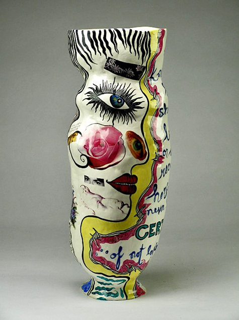 Jenny Orchard - lost-vase--http.maunsell.wickes vase with abstract face motif