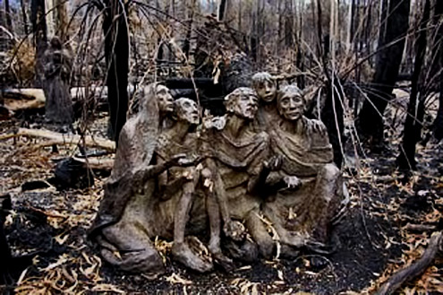 Surviving sculptures after the bushfire at Bruno's garden