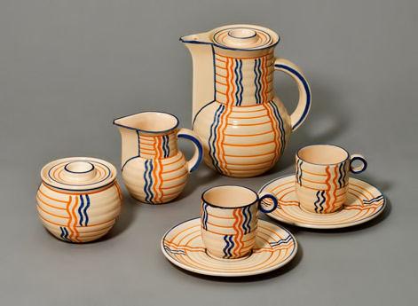 Eva Zeisel coffee set in art deco style - beige, with orange and blue patterns