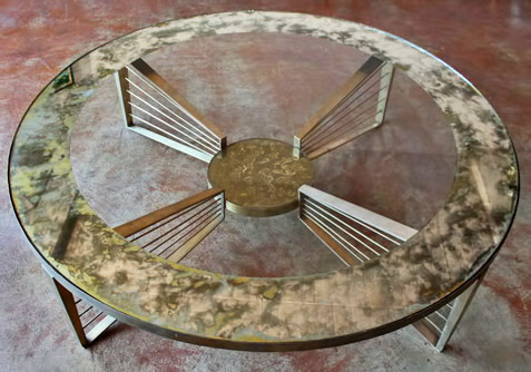 Bronze-and-Eglomise-Glass-Harp-Coffee-Table-by-Arturo-Pani,-Mexico,-1950s---House-Of-Blu-San-Diego