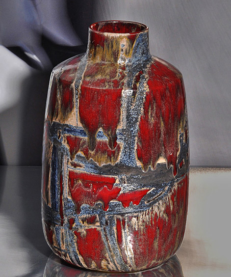 CARLO-Zauli,-Red vase-with-abstract-decoration,-1955
