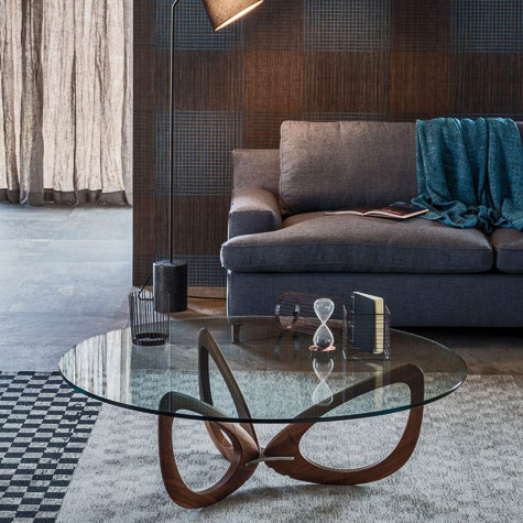 Cattelan-Italia coffee table - glass top with wooden base