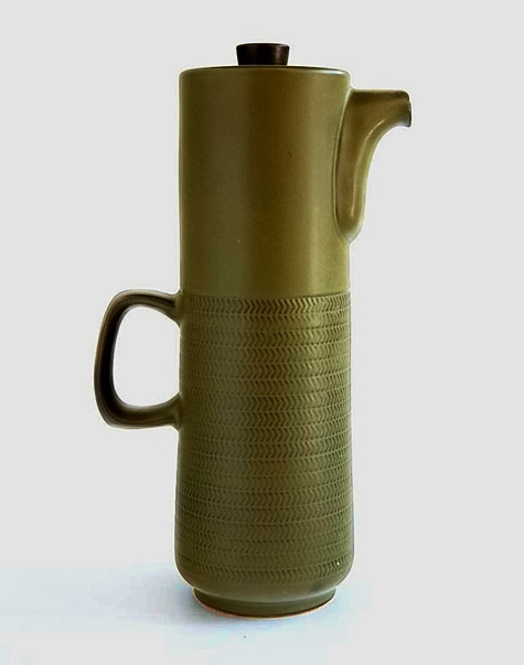 Olive green Coffee Pot-by-Gillian-Pemberton for Joseph Bourne & Son,