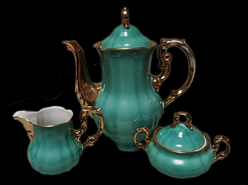 Bavarian jade green glazed Coffee-Pot, creamer and sugar bowl