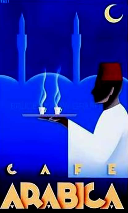 coffee-poster for cafe arabica featuring a Turkish man carrying cups of coffee