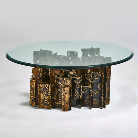 Coffee-table,-USA,-1970s;-Torch-cut-and-patinated-brass;-brutalist