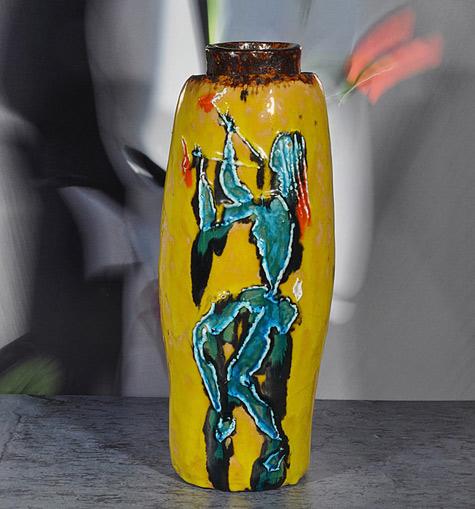 Domenico Matteucci, Yellow Vase withgreen female figure, c. 1962-63