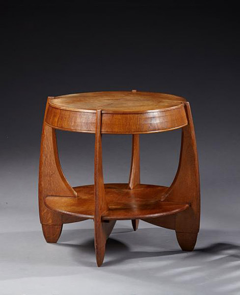 FRENCH-WORK-1930---Oak-coffee-table-with-two-circular-plates