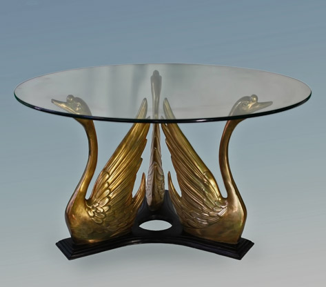 Hollywood-Regency-Style-Glass-Top-Coffee-Table-with-Brass-Swan-Trio-Base-Showplace---NY