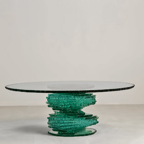 Late-20th-Century-Pedestal-Glass-Coffee-Table jade colour-base--Talisman