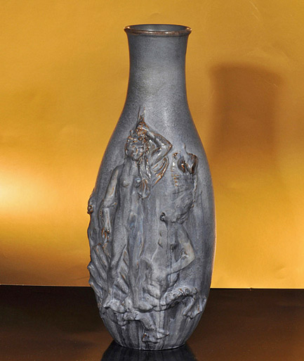 Marcello Fantoni, Vase with female figures in relief, Early 1950s baluster shape