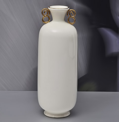 Richard-Ginori-Giò-Ponti,-White Vase-with-gilded-handles,-1930s-H33cm