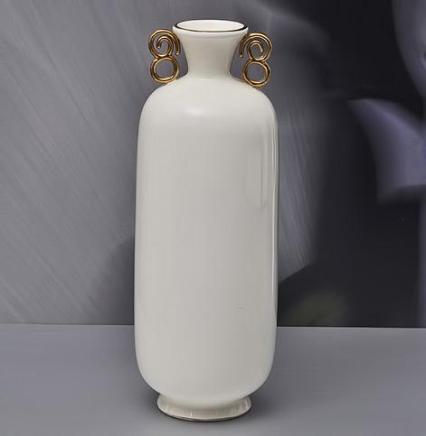 Richard-Ginori-Giò-Ponti,-White Vase-with-gilded-handles,-1930s-H33cm