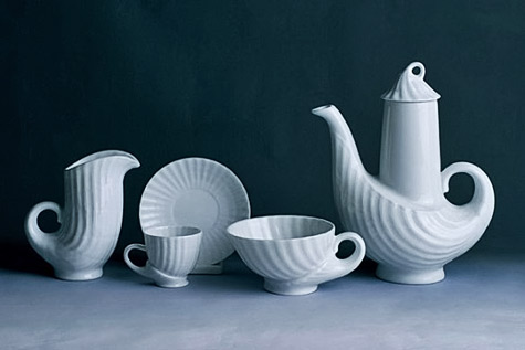White porcelain Sargadelos Cuncha Coffee Set--Arren Williams Design Lab